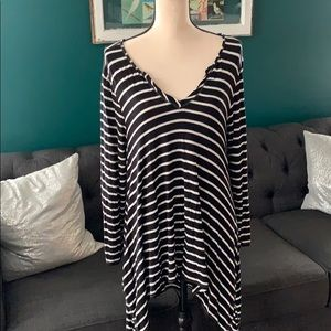 Black and white striped tunic